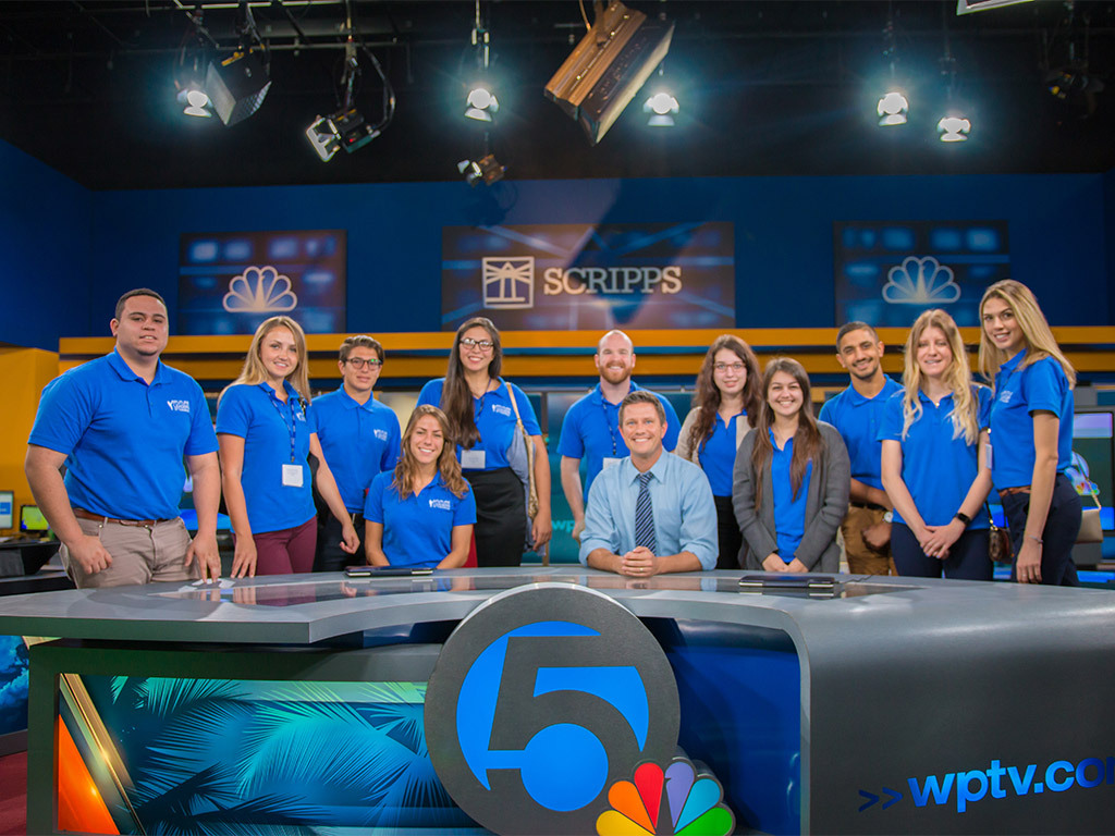 Students from Lynn University visit the WPTV Channel 5 newsroom.