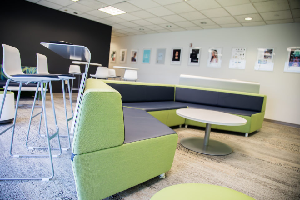 Lounge for students in the Design and Media Arts Center.
