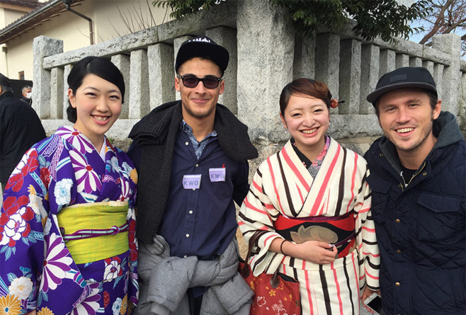 Lynn students posing with Japanese women