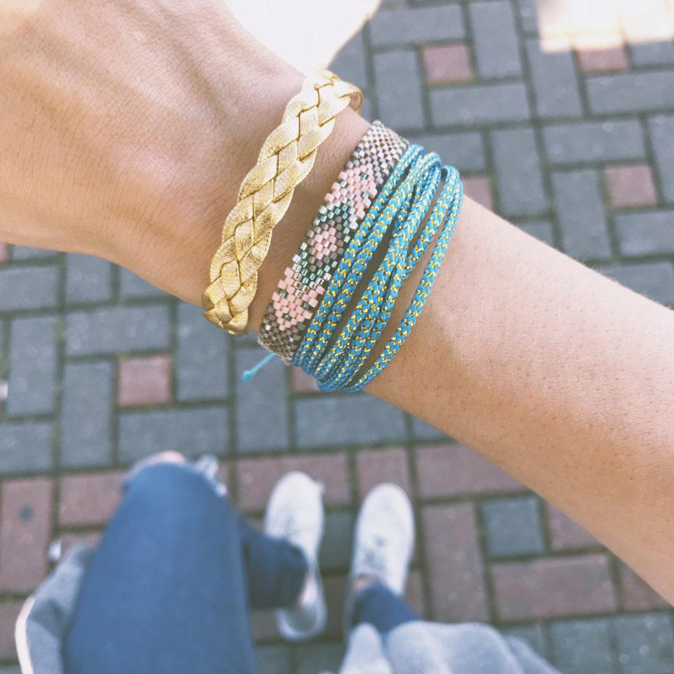 Shot of Vakano bracelets on the wrist of a woman.