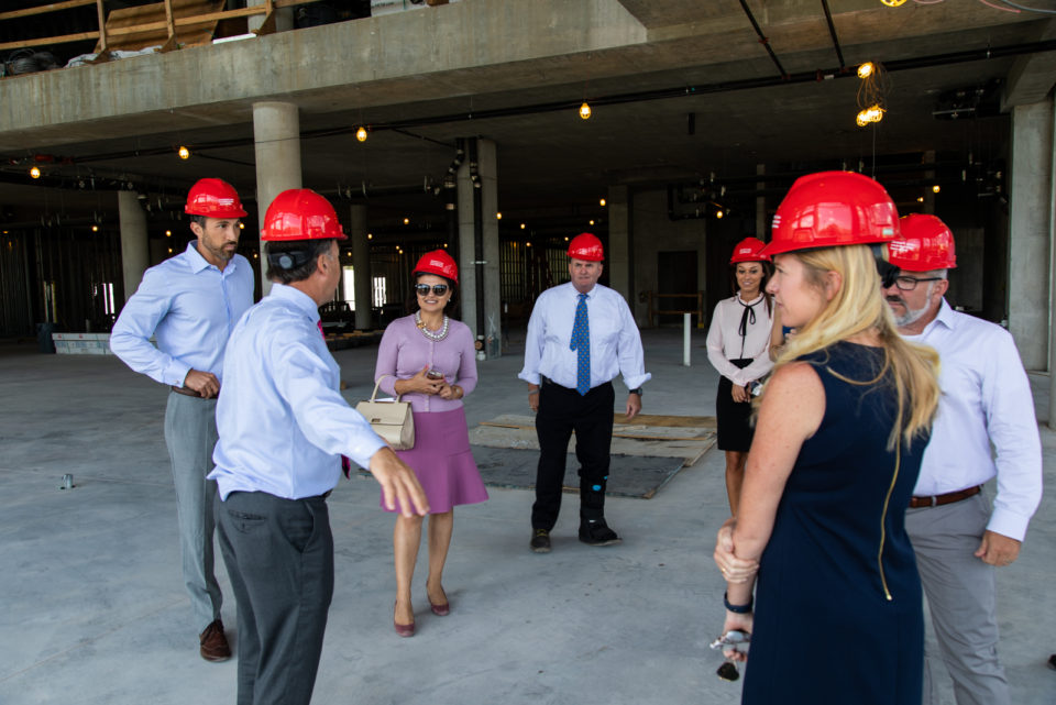 President's Alumni Advisory Council on a hard hat tour of the university center construction.