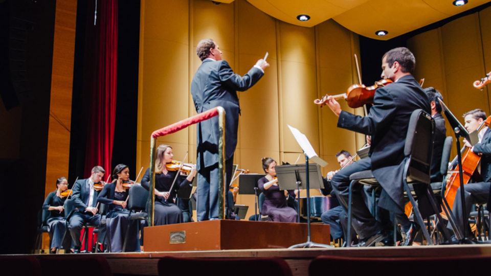 Students premiering at the university's Philharmonia orchestra
