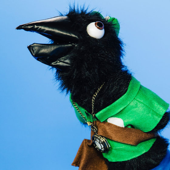 Crow puppet with green polo on.