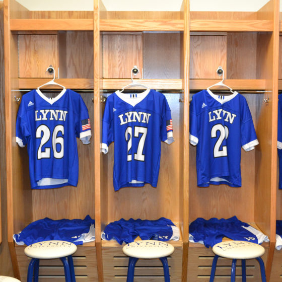 Locker room in Bobby Campbell Stadium at Lynn University.