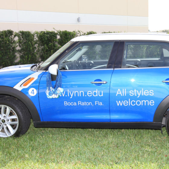 Lynn's blue car on campus.