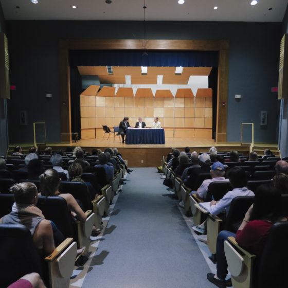 Robert Watson hosts a Q&A in Amarnick-Goldstein Concert Hall.