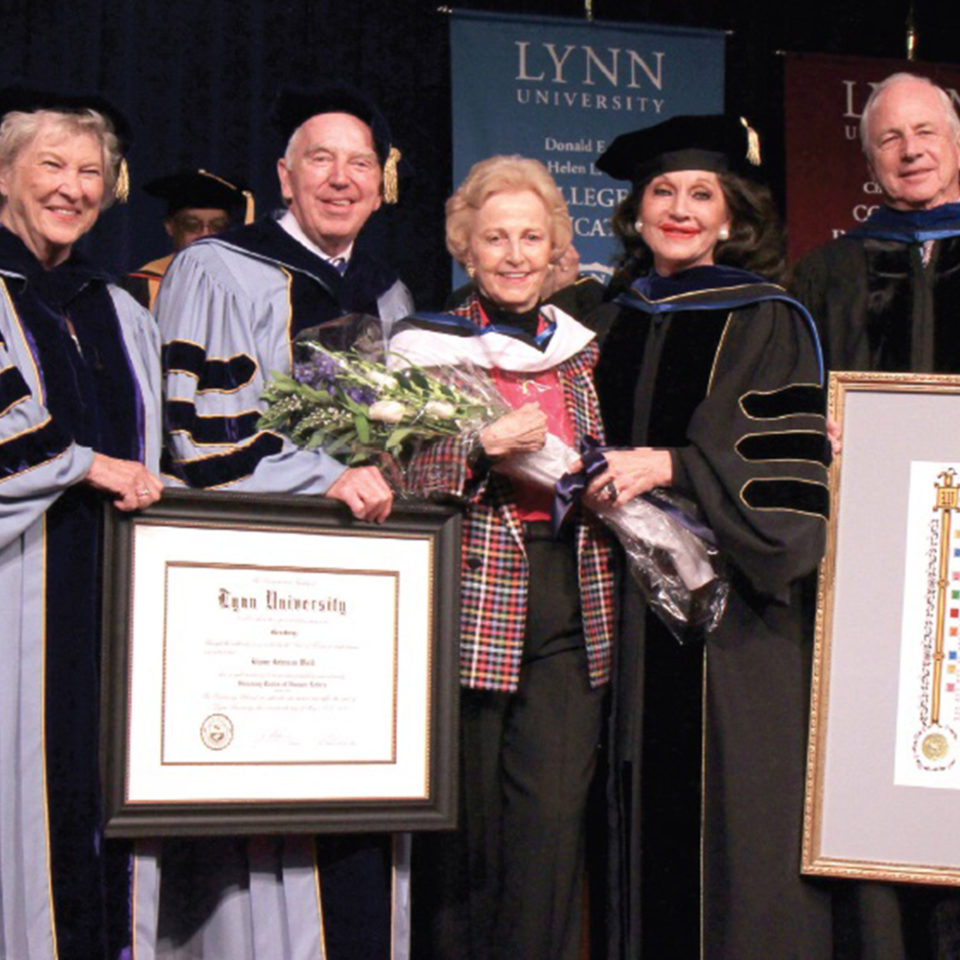 Elaine Wold receives doctorate at Lynn University.