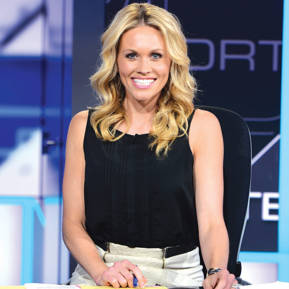 Lisa Gangel Kerney behind her desk at ESPN