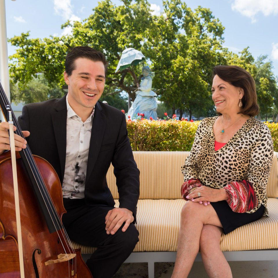 Conservatory student Trace Johnson and President of the Friends of the Conservatory of Music, Linda Melcer