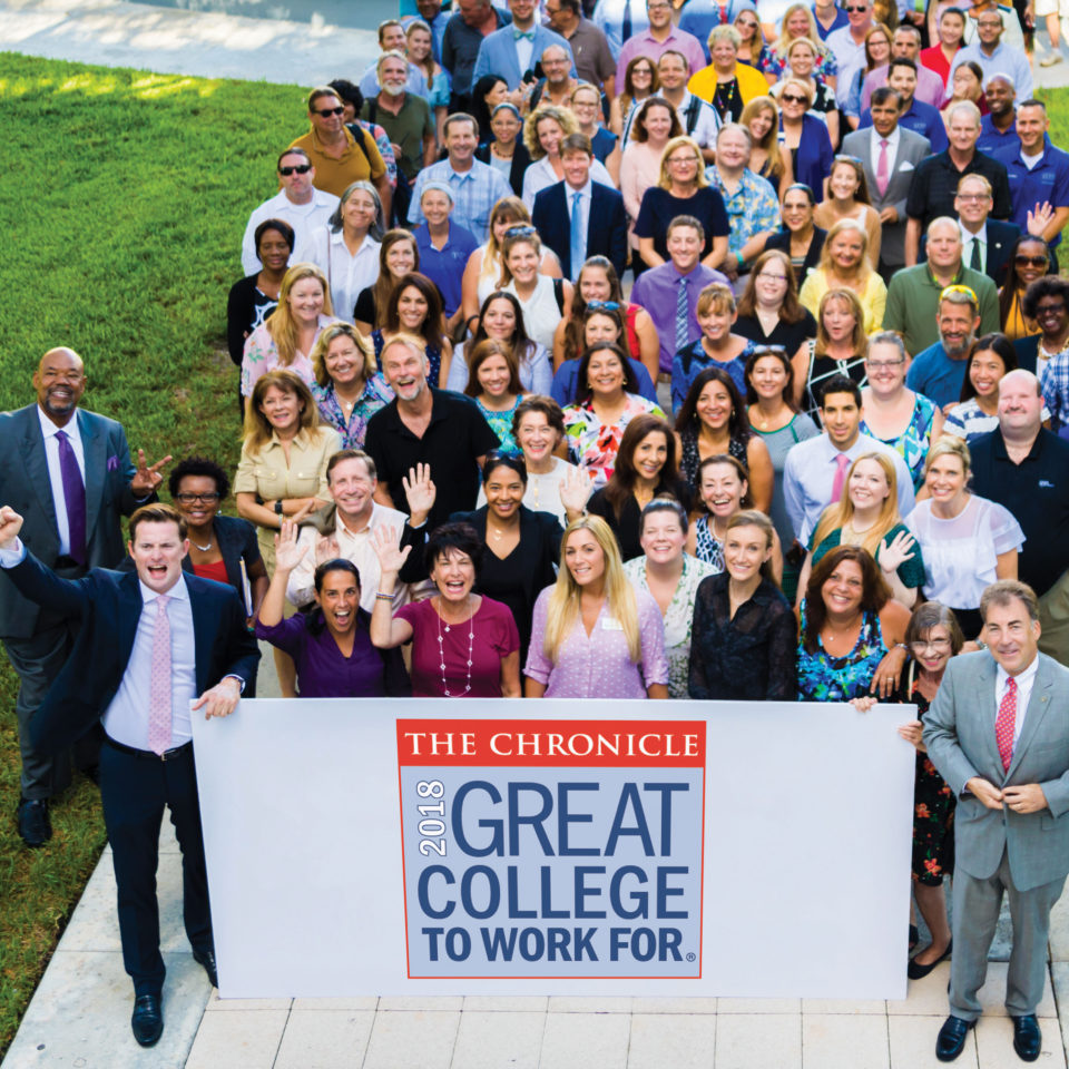 "Lynn employees celebrate the university's designation as a ""Great College to Work For"" by The Chronicle of Higher Education."