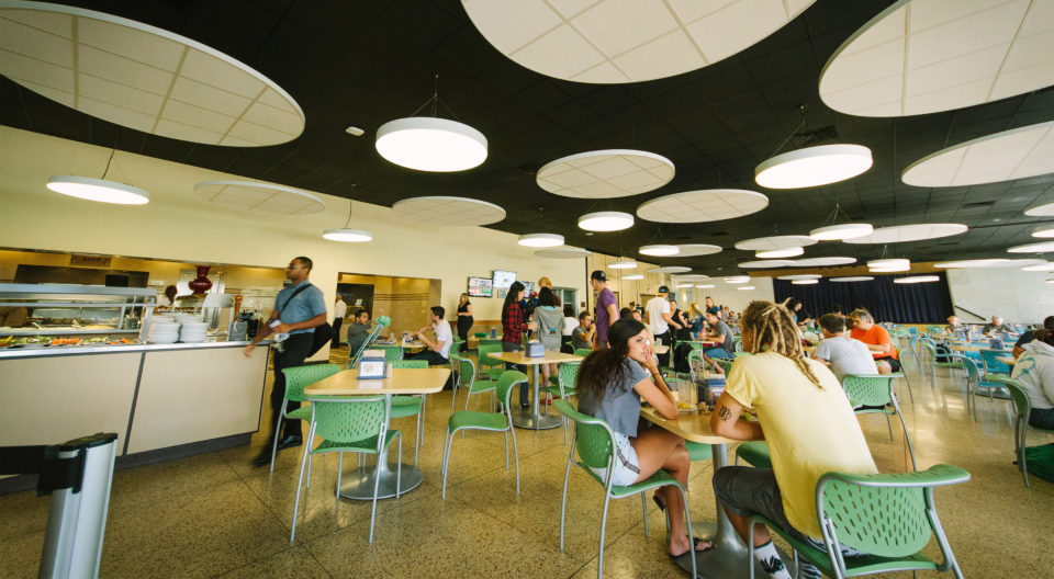 Students eating in Elmore Dining commons.