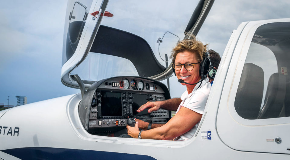 A professional pilot begins her flight at the Burton D. Morgan College of Aeronautics.