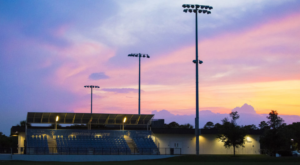 Bobby Campbell Stadium at dusk.