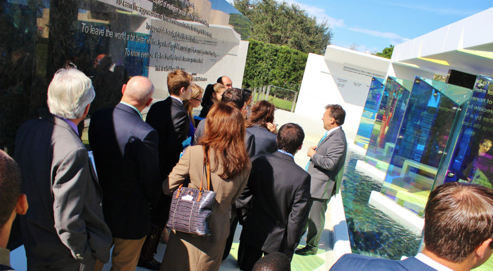 Greg Malfitano tours Remembrance Plaza at Lynn University.