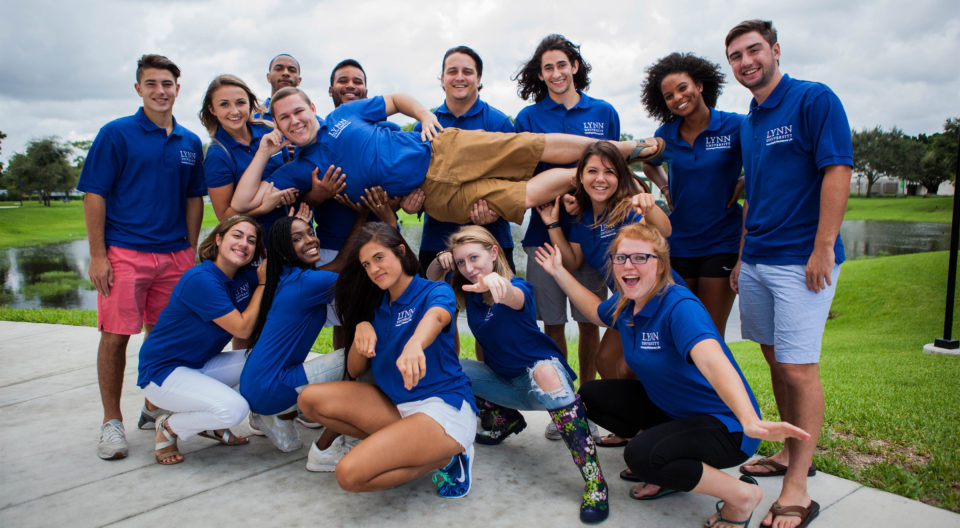 Students posing on Lynn campus.