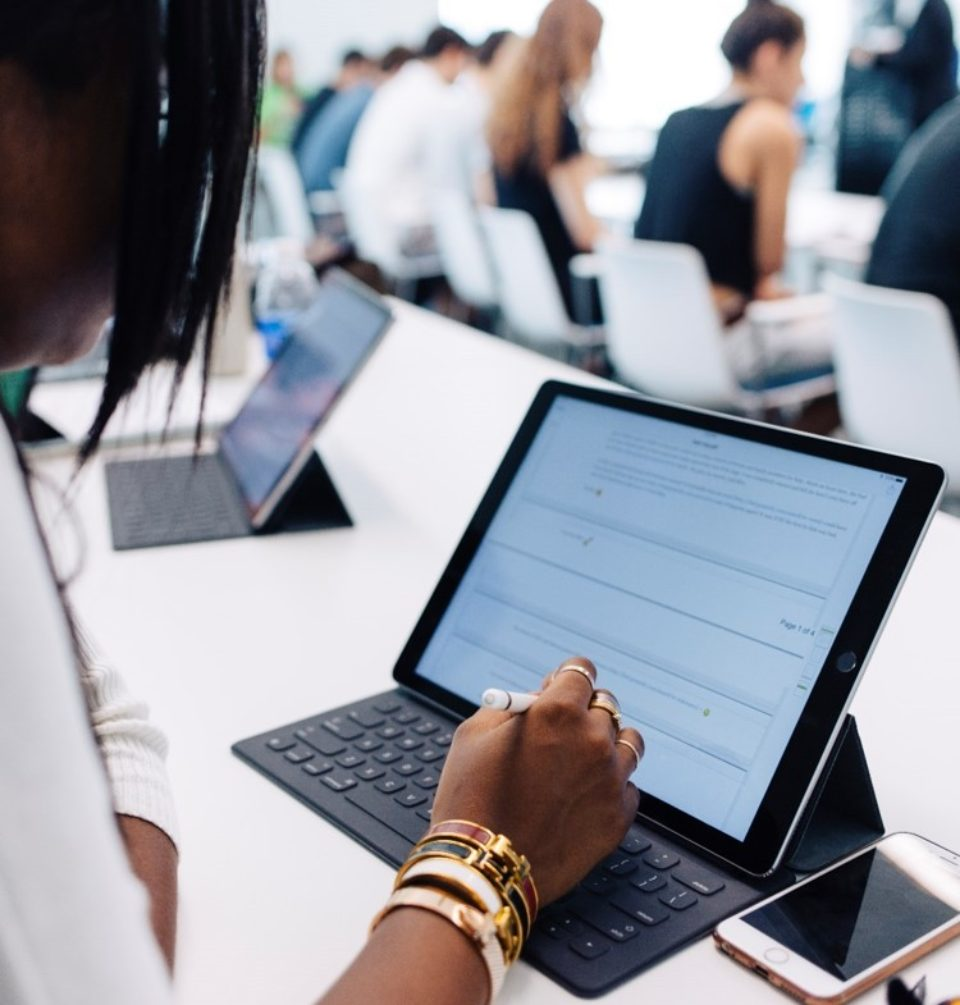 A Lynn University student uses her iPad Pro in the classroom.