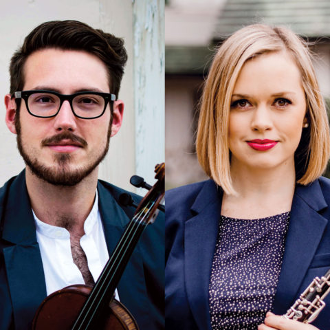 Three headshots of conservatory students holding their instruments