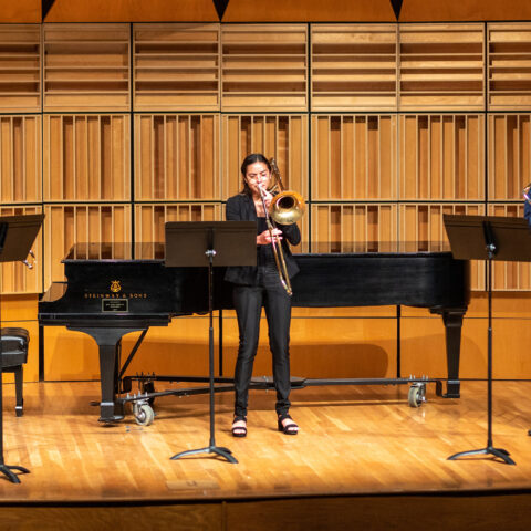 Students play at the Dean Showcase 2 in April 2021