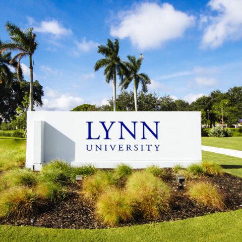 Lynn University sign at N. Military Trail entrance