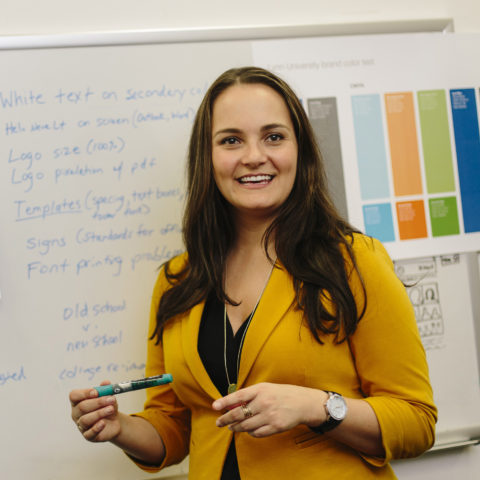 Marketing MBA graduate shows students in the classroom how to develop marketing campaigns.