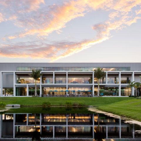 The Christine E. Lynn University Center during a Florida sunset.
