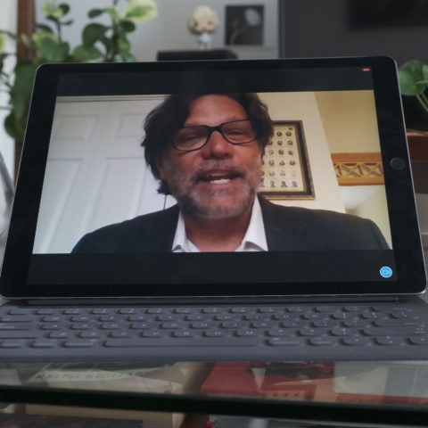 Professor Robert Watson provides a lecture remotely.