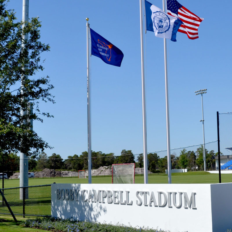 Flags in front of Bobby Campbell Stadium