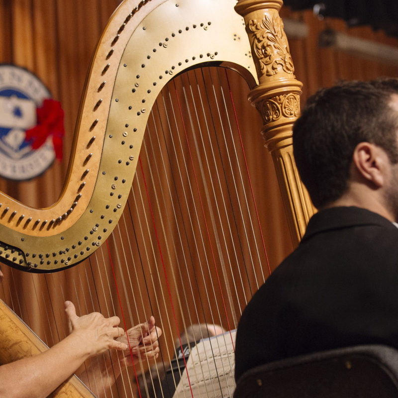 Conservatory student plays the harp.