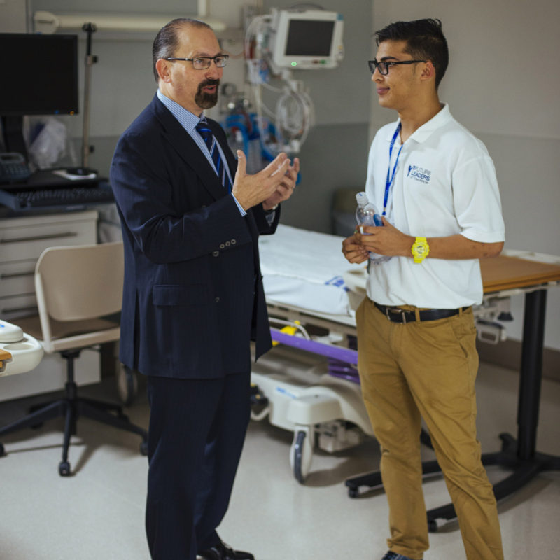 Student meets doctor in Boca Hospital through Career Connections.