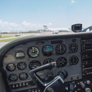 Instrument panel in the plane cockpit.