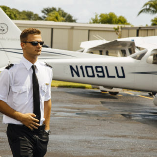Pilot getting recurrent pilot training in Lynn's school of aeronautics.