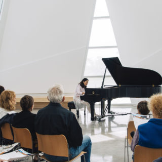 Conservatory student plays the piano.