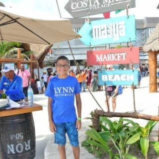 Representing Lynn University in Costa Maya, Mexico.
