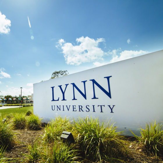 Lynn University sign on campus.